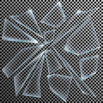 Realistyczne odłamki potłuczonego szkła na przezroczystym tle ostry kawałek.