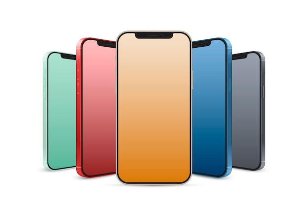 Realistyczne oficjalne kolory smartfonów