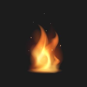 Realistyczne ognisko. płomień. ilustracja.