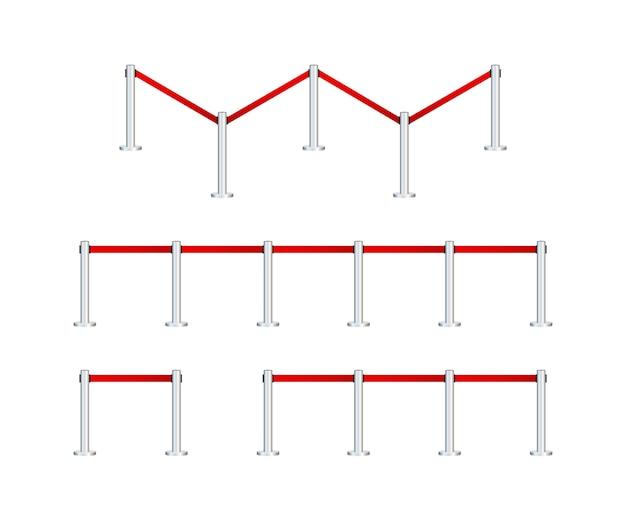 Realistyczne ogrodzenie dla ekskluzywnego wejścia lub strefy bezpieczeństwa. prezentacja vip. zbiory ilustracji.