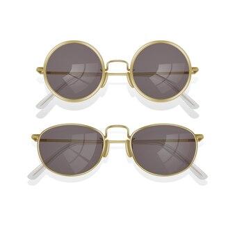 Realistyczne okulary przeciwsłoneczne na białym tle