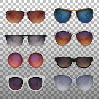 Realistyczne okulary przeciwsłoneczne ustawione na przezroczystej powierzchni z różnymi modelami nowoczesnych modnych okularów przeciwsłonecznych