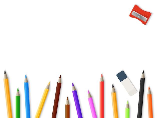 Realistyczne ołówki temperówka gumka tło - rysunek szablon makieta