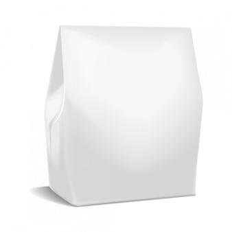 Realistyczne opakowanie papierowe, pudełko na jedzenie na wynos, pojemnik na szablon prezentu.biały karton modelowy