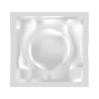 Realistyczne opakowanie saszetki z prezerwatywą