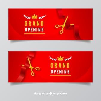 Realistyczne otwarcie banerów z eleganckim stylem