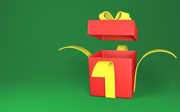 Realistyczne otwarte czerwone pudełko z żółtą kokardką i wstążką na białym tle