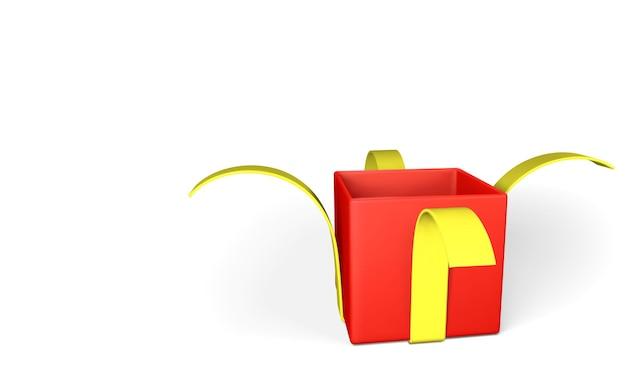 Realistyczne otwarte czerwone pudełko z żółtą wstążką na białym tle