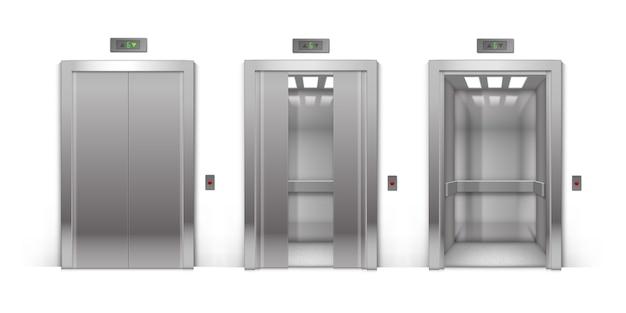 Realistyczne otwarte, półotwarte, pół-zamknięte i zamknięte drzwi windy budynku biurowego metalowe chromowane na białym tle na tle