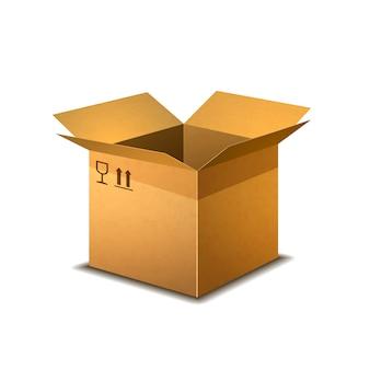 Realistyczne otwarte pudełko kartonowe