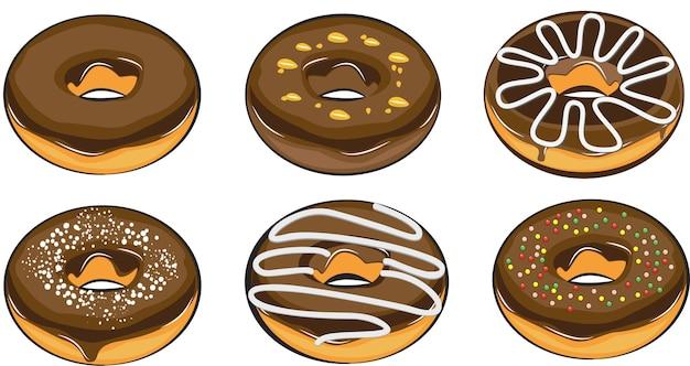 Realistyczne pączki z polewą czekoladową pojedyncze kolorowe pączki topiący się słodki lukier cukrowy