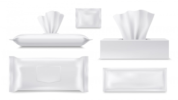 Realistyczne papierowe pudełko na chusteczki, saszetka na mokre chusteczki