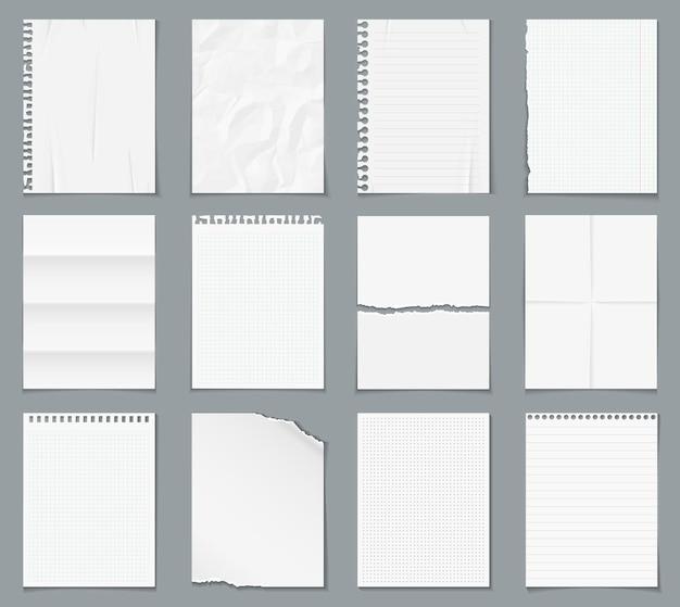 Realistyczne papierowe puste arkusze z cieniem na białym tle