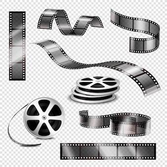 Realistyczne paski fotograficzne i szpule filmowe