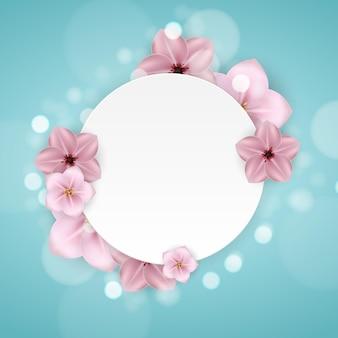 Realistyczne piękne 3d sprind i lato różowy kwiat rama