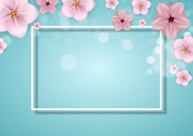 Realistyczne piękne 3d sprind i lato różowy kwiat tło.