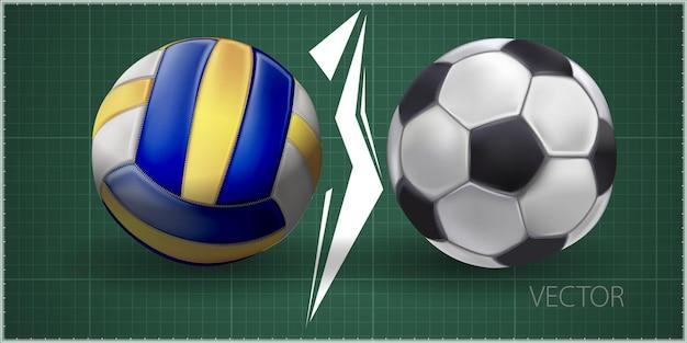 Realistyczne piłki sportowe do grania w gry ilustracje wektorowe zestaw. okrągłe ikony sprzętu sportowego na białym tle na zielonym tle. ilustracja piłki nożnej i siatkówki
