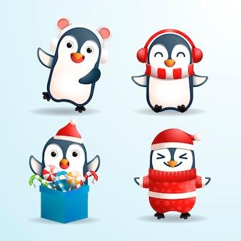 Realistyczne pingwiny świąteczne postacie z kreskówek