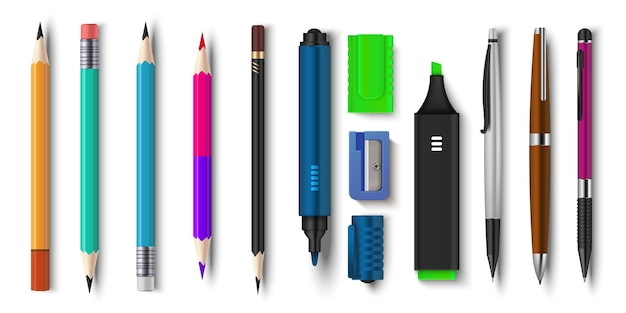 Realistyczne pióro i ołówki. artykuły szkolne i biurowe 3d, marker pędzelkowy i zaostrzone ołówki.