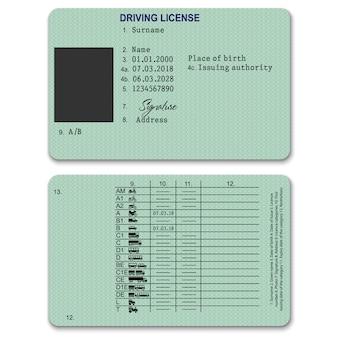 Realistyczne plastikowe prawo jazdy z powrotem i szablon z przodu