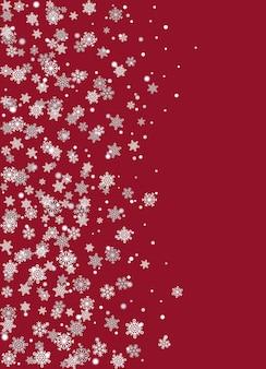 Realistyczne płatki śniegu na burgundii tło wektor
