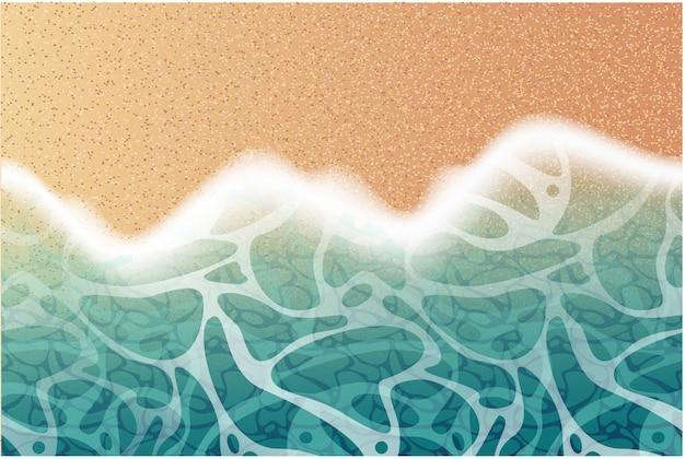 Realistyczne plaży tło z fal morskich i piasku