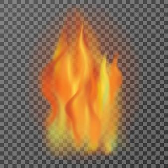 Realistyczne płomienie ognia na białym tle