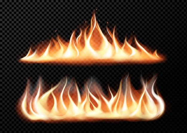 Realistyczne płomienie ognia na przezroczystej czerni