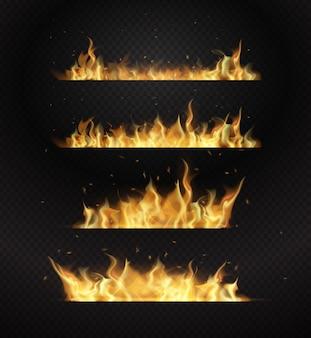 Realistyczne płomienie ognia na przezroczystym tle. ilustracja płaska konstrukcja
