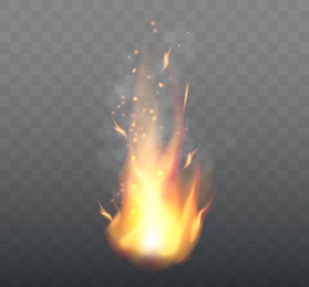 Realistyczne płomienie ognia na przezroczystym tle ilustracji wektorowych