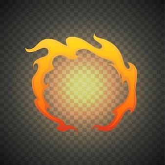 Realistyczne płomienie ognia na przezroczystym tle. specjalny efekt płonącego światła z iskrą