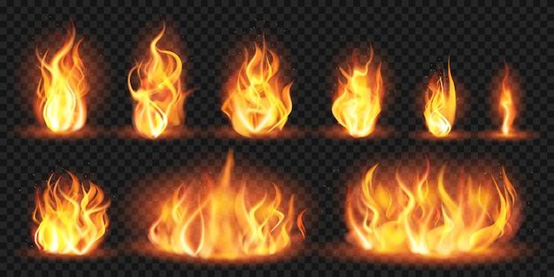 Realistyczne płomienie. płonące czerwone płomienie pożaru, płonące ogniste tryby ognia, zestaw ilustracji sylwetki ogniska. ognista czerwień, płomień pożaru, płonący płomień
