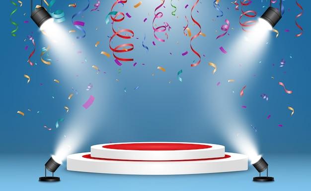 Realistyczne podium lub platforma zwycięzców. cokół z konfetti na białym tle.