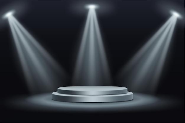 Realistyczne podium z wiązkami reflektorów