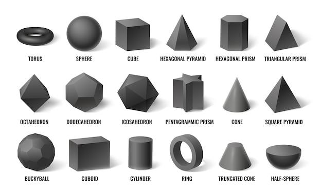 Realistyczne podstawowe kształty 3d.