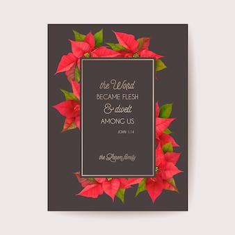 Realistyczne poinsecja 3d kwiaty zima karty, wesołych świąt wektor pozdrowienia. zaproszenie na przyjęcie świąteczne nowego roku. szablon kwiatowy baner, ramka ilustracyjna, broszura, okładka, pocztówka ślubna
