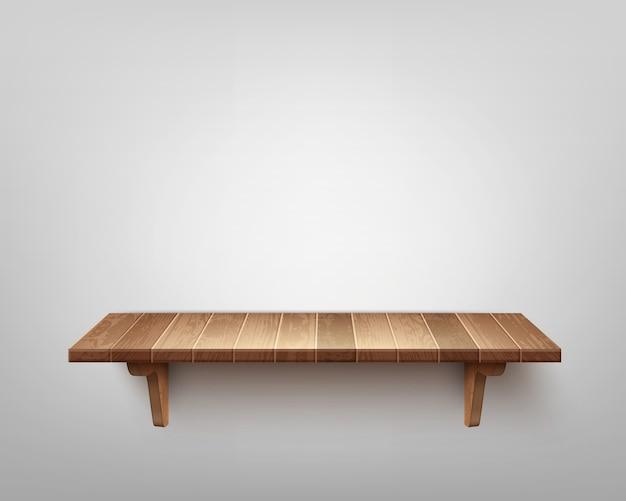 Realistyczne pojedyncze drewniane półki na białym tle na tle ściany
