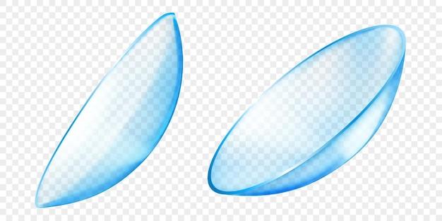 Realistyczne półprzezroczyste soczewki kontaktowe w jasnoniebieskim kolorze, izolowane na przezroczystym tle