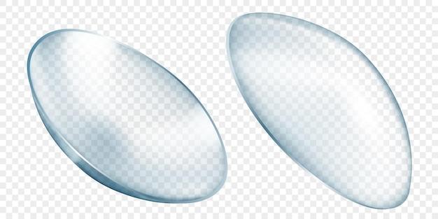 Realistyczne półprzezroczyste soczewki kontaktowe w kolorze szarym, izolowane na przezroczystym tle