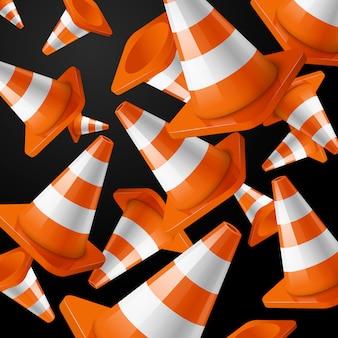 Realistyczne, pomarańczowe paski spadających stożków drogowych na czarno.