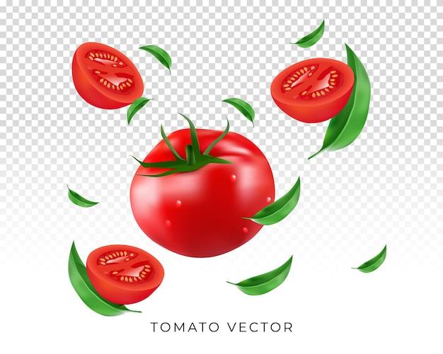 Realistyczne pomidory z latającymi liśćmi