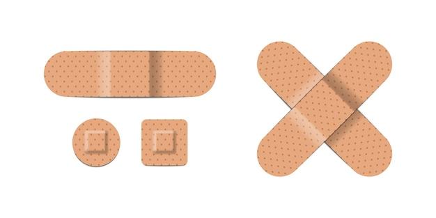Realistyczne pomoce bandaże na białym tle, ilustracji wektorowych