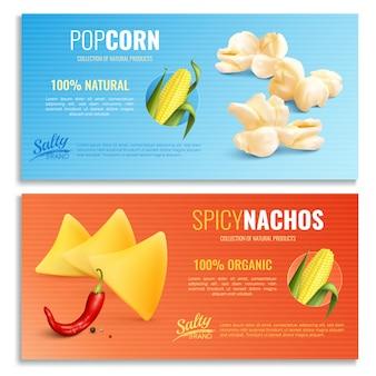 Realistyczne poziome banery kukurydzy