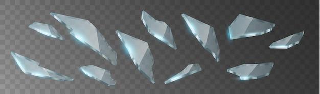 Realistyczne przezroczyste odłamki potłuczonego szkła na przezroczystym tle w kratkę. kawałki ostrego szkła pękły i rozbiły się. 3d ilustracji wektorowych