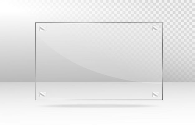 Realistyczne przezroczyste szklane okno. szklane talerze akrylowo-szklana tekstura z odblaskami i światłem. prostokątna ramka.
