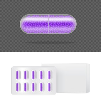 Realistyczne przezroczyste tabletki kapsułka medycyna tabletki panel medyczny i koncepcja zdrowia.
