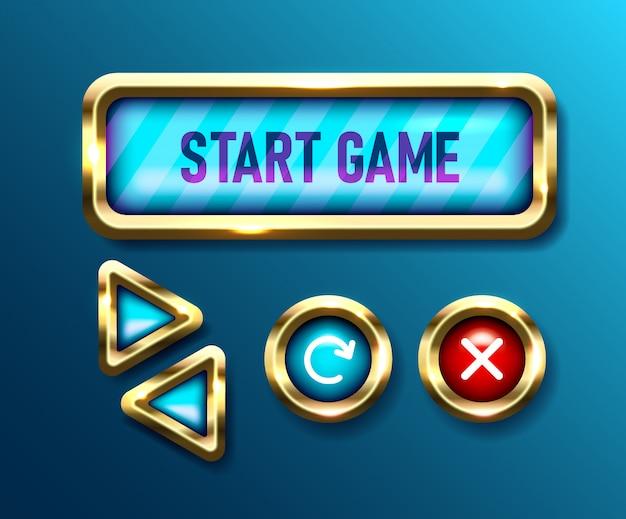 Realistyczne przyciski gry ustawione na niebieskim tle. przewodniki mobilne. pokrętła nawigacyjne interfejsu użytkownika, ilustracje