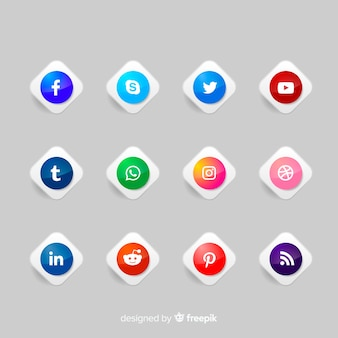 Realistyczne przyciski z kolekcją logo mediów społecznościowych