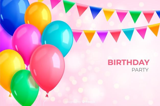 Realistyczne przyjęcie urodzinowe balon tło