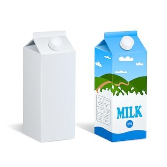 Realistyczne pudełka na mleko na białym tle